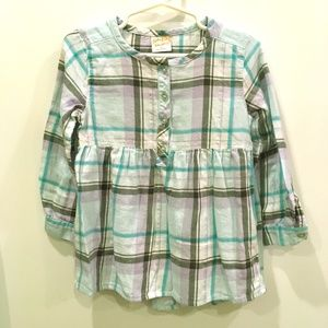 JUMPING BEANS LONG SLEEVE PLAID FLANNEL DRESS 4T